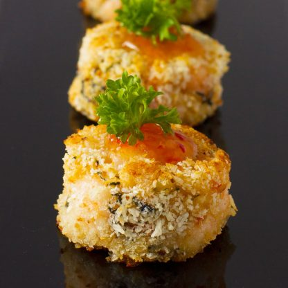 Mini Shrimp Cake with Fresh Basil