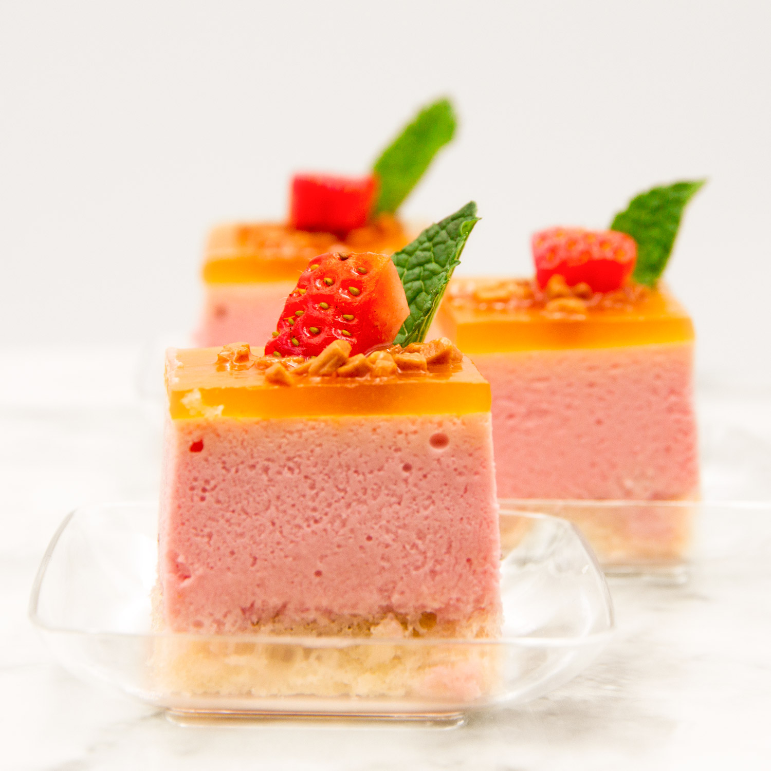 Blood Orange and Strawberry Mousse Cake